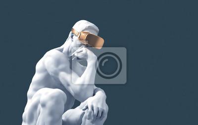 Naklejka Sculpture Thinker With Golden VR Glasses On Blue Background