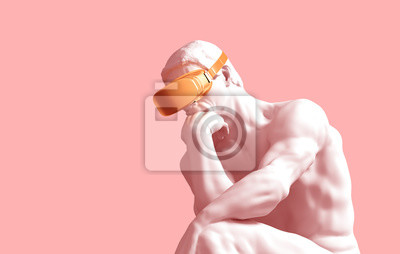 Sculpture Thinker With Golden VR Glasses On Pink Background