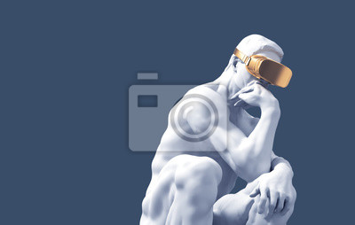 Sculpture Thinker With Golden VR Glasses Over Blue Background