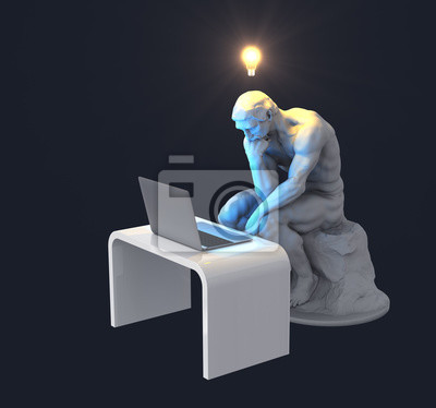 Sculpture Thinker With Laptop And Glowing Light Bulb Over His Head As Symbol Of New Idea