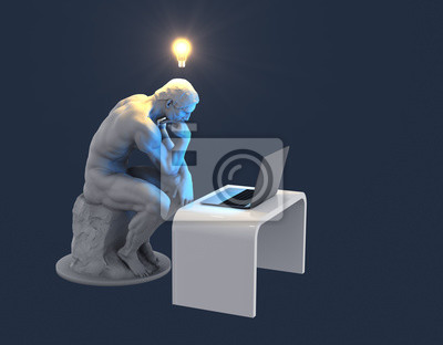 Sculpture Thinker With Laptop And Glowing Light Bulb Over His Head As Symbol Of New Idea. Blue Background