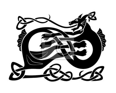 Naklejka Sea black dragon nordic culture pattern