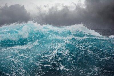 Naklejka sea wave in the atlantic ocean during storm