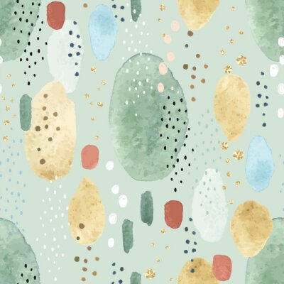 Seamless abstract pattern with colorful watercolor spots, dots and golden circles. Vector illustration on green background.