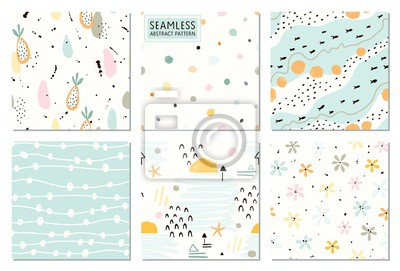 Seamless abstract patterns and prints set. Vector fashion collection pastel colors.