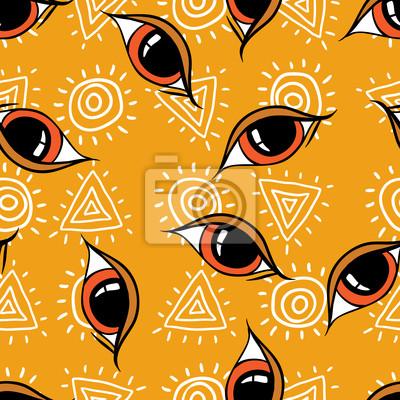 Seamless abstrakcyjny wzór, ręcznie rysowane tła oczy.