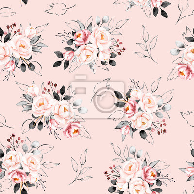 Seamless background, vintage floral pattern with bouquets watercolor flowers pink peonies. Repeat fabric wallpaper print texture. Perfectly for wrapped paper, backdrop, frame or border.