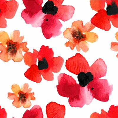 Naklejka Seamless background with red poppies watercolor.