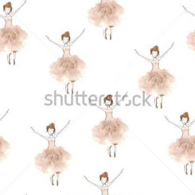 Naklejka Seamless background with watercolor elegant ballet dancers. Hand painted elements. Decorative pattern for web, wallpaper, textile, clothing, fabric, scrapbook, stationery, home decor.