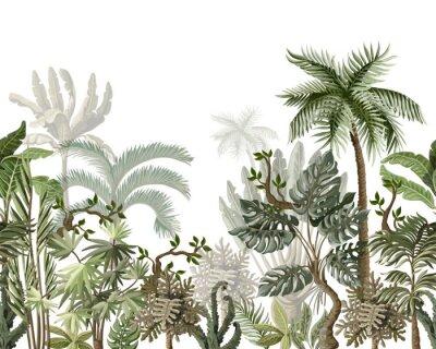 Naklejka Seamless border with tropical tree such as palm, banana, monstera. Vector.