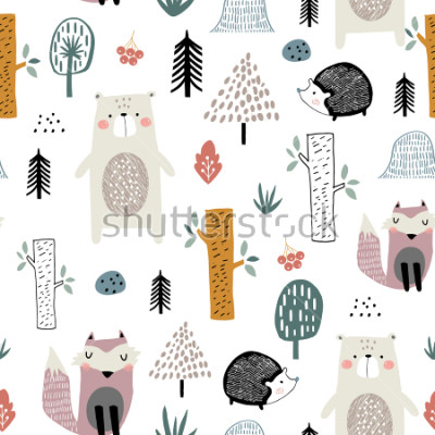 Naklejka Seamless childish pattern with cute bear, fox, hedgehogs in the wood. Creative kids scandinavian style texture for fabric, wrapping, textile, wallpaper, apparel. Vector illustration