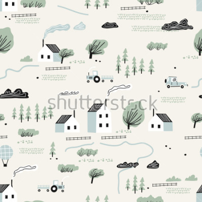 Naklejka seamless colorful pattern with house,trees and mountains. Nordic nature landscape concept. Perfect for kids fabric, textile, nursery wallpaper.