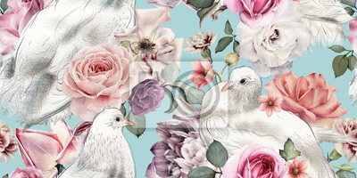 Seamless floral pattern with flowers and pigeons, watercolor.