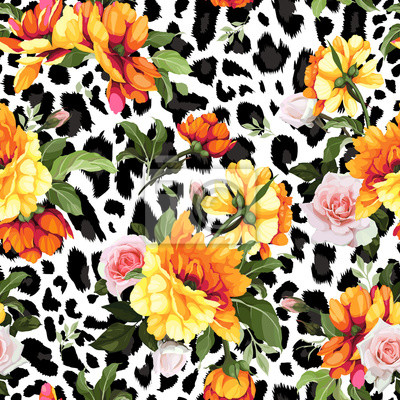 Seamless floral pattern with peonies on a leopard background, watercolor. Vector illustration.