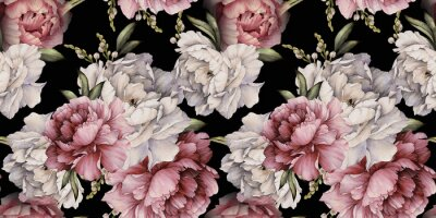 Seamless floral pattern with peonies on dark background, watercolor. Template design for textiles, interior, clothes, wallpaper. Botanical art