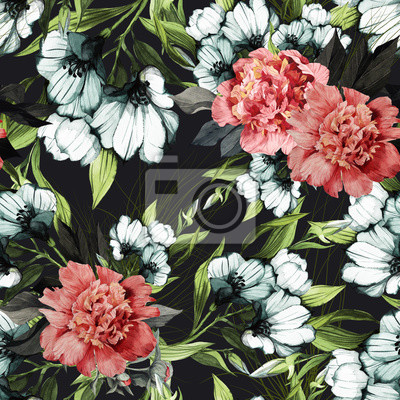 Seamless floral pattern with peonies, watercolor.