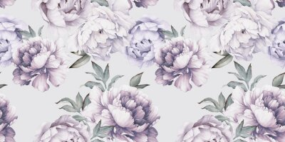 Seamless floral pattern with peony flowers on summer background, watercolor.  Botanical art