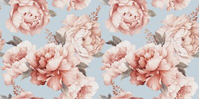 Seamless floral pattern with peony flowers on summer background, watercolor. Template design for textiles, interior, clothes, wallpaper. Botanical art