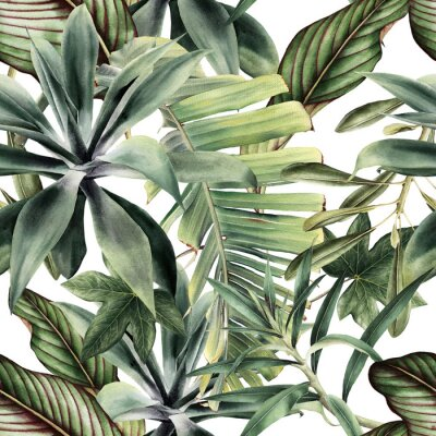 Naklejka Seamless floral pattern with tropical piants, watercolor.