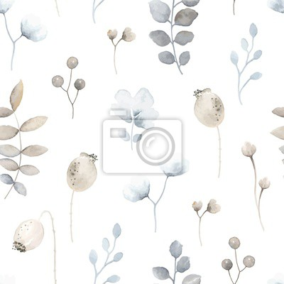 Seamless floral pattern with wildflowers blue and brown colors in vintage watercolor style. Vector gentle texture on white background.