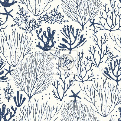 Seamless hand drawn pattern with coral reef and starfishes. Vector dark blue illustration on ivory background.