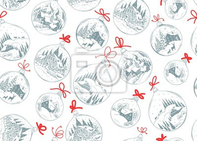 Seamless holiday pattern with Christmas balls and red bows, vector illustration with drawing landscape, houses and animals in vintage style.