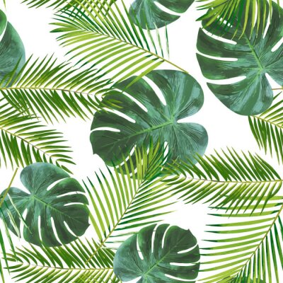 Naklejka Seamless leaft pattern background for decoration and ornament.