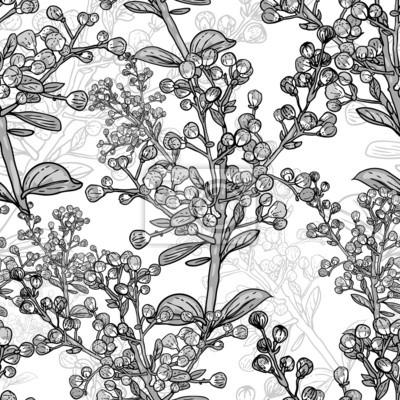 Seamless monochromatyczny kwiatowy wzór