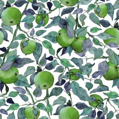 Naklejka seamless pattern apple tree branch with green apples watercolor stylized illustration