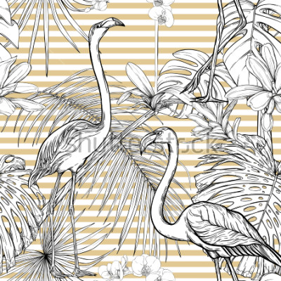Naklejka Seamless pattern, background. with tropical plants and flowers with white orchid and tropical birds. Graphic drawing, engraving style. vector illustration. Black and white on beige and white stripes.