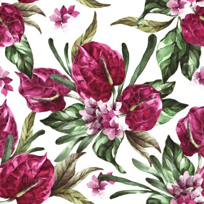 Naklejka seamless pattern burgundy flowers