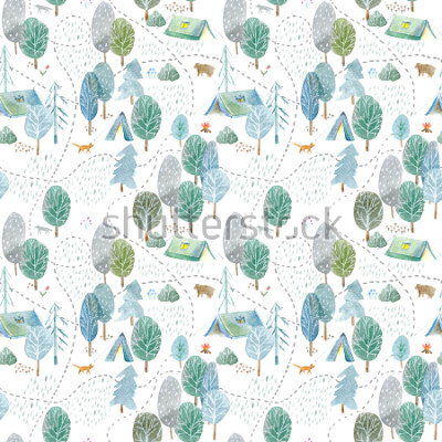 Naklejka Seamless pattern of a camping,road,fox,wolf,bear in the woods.Tent, trees, bonfire, plants and floral.Landscape tourism.Watercolor hand drawn illustration.White background.