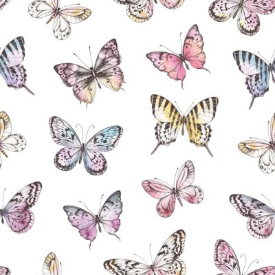 Seamless pattern of Hand Drawn silhouette butterflies with watercolor texture. Vector illustration in vintage style