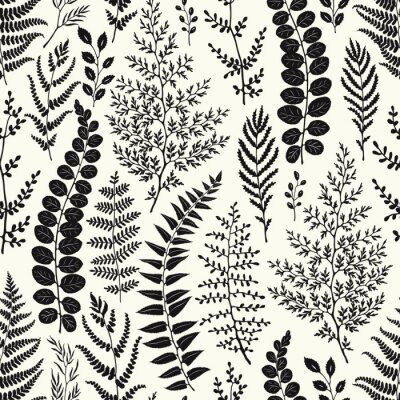 Seamless pattern of leaves and branches silhouettes, hand drawn vector illustration on beige background.