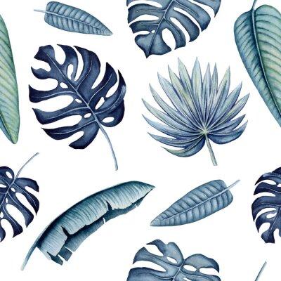 Naklejka Seamless Pattern of Watercolor Tropical Leaves