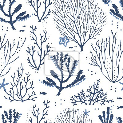 Seamless pattern sea coral reef dark blue and blue colors with fishes and starfishes. Vector hand drawn illustration on white background.