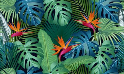Naklejka Seamless pattern tropical leaves with bird of paradise on black background