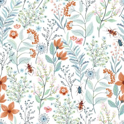 Seamless pattern with brown and turquoise beetles, abstract flowers, branches, leaves. Vector floral illustration on white background. Cute template for swatch.