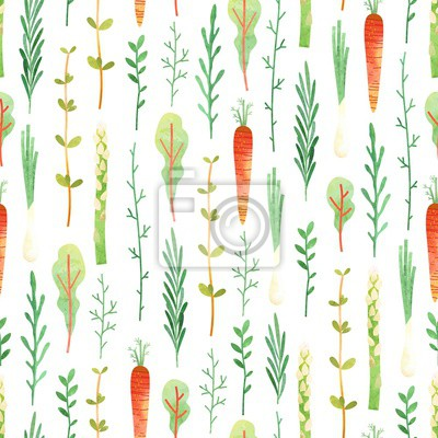 Seamless pattern with carrots and greenery. Vector vertical ornament on white background of watercolor texture. Ingredients healthy eating, vegetarian, farmers market.