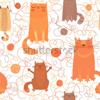 Naklejka Seamless pattern with cute cats and balls of yarn. Vector illustration.