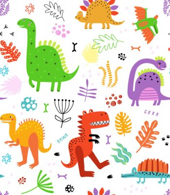 Naklejka Seamless pattern with dinosaurs and flowers