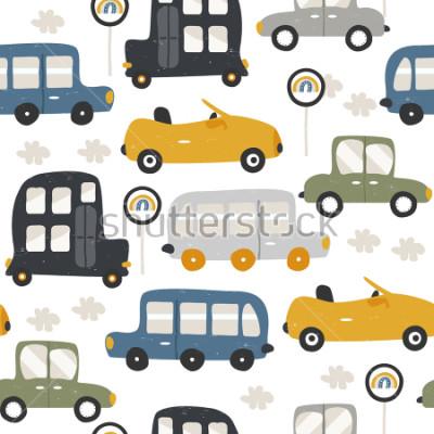 Naklejka Seamless pattern with funny cars. Fashion kids print. Vector hand drawn illustration.