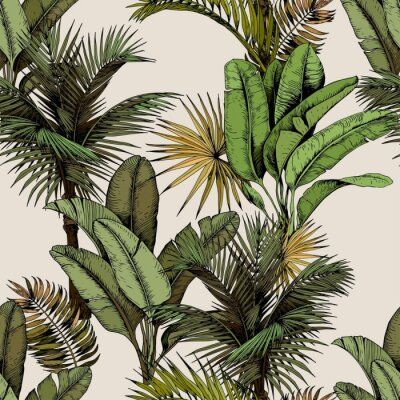 Naklejka Seamless pattern with green tropical palm and banana leaves. Hand drawn vector illustration on beige background.