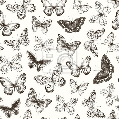 Seamless pattern with hand-drawn dark silhouette butterflies, vector illustration in vintage style.