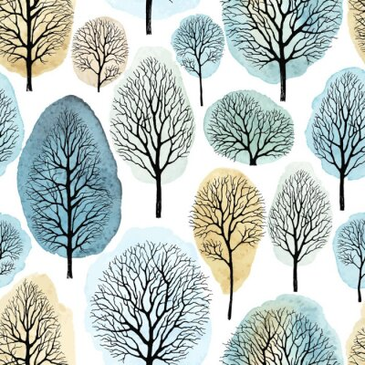 Seamless pattern with hand drawn trees and watercolor spots. Vector handmade illustration on white background.