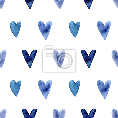 Seamless pattern with hand painted indigo blue watercolor hearts. Valentines day, aquarelle illustration. Romantic decorative background cute heart for gift paper, wedding decor or fabric textile.