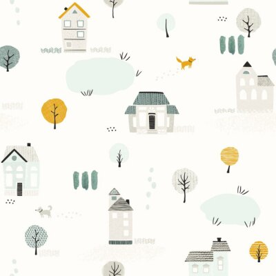 Seamless pattern with houses, trees, dogs and lakes, texture landscape in retro flat style. Vector print in pastel colors.
