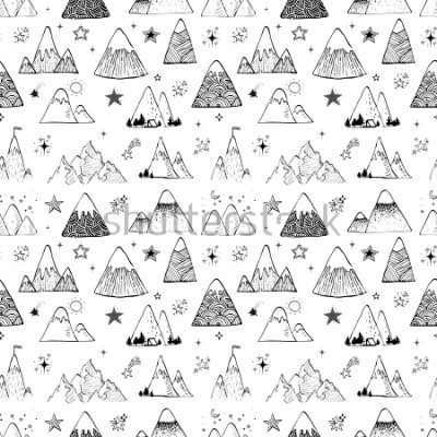 Naklejka Seamless pattern with mountains and stars. Can be used for wallpaper, pattern fills, textile, web page background, surface textures