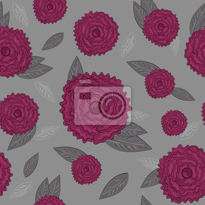 Seamless pattern with pink roses on grey background