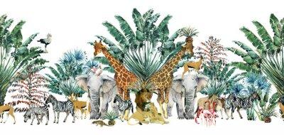 Naklejka seamless pattern with safari animals and palm trees.Tropical vintage botanical island banner. Exotic jungle border.